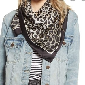 AllSaints Leppo Leopard Square Silk Scarf